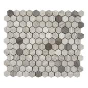 Uberhaus Hexagon Marble Mosaic - 10-in x 12-in - Wooden Grey - 5/Box