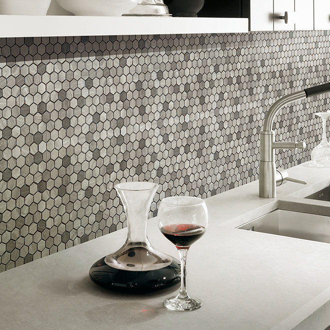 Uberhaus Hexagon Marble Mosaic - 10-in x 12-in - Wooden Grey - 5/Box