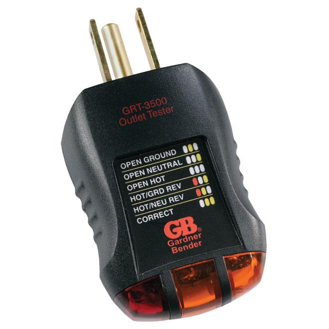 Outlet Tester - 120 V AC - 60 Hz - Black