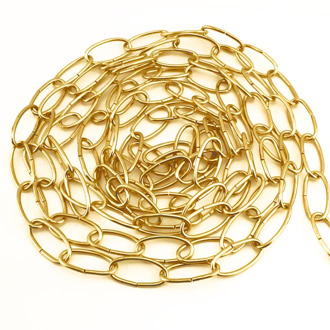 Chaîne décorative à maillons ovales, 12', laiton