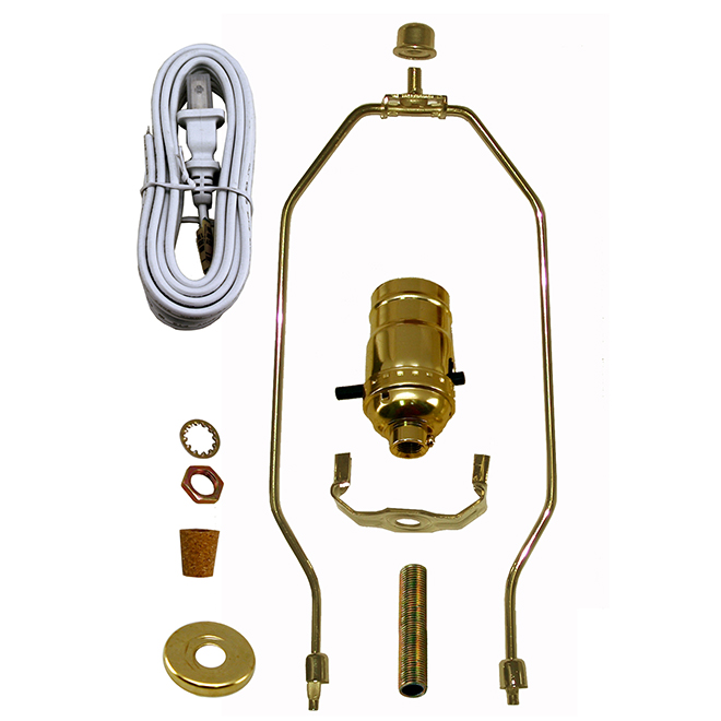 Socket with Cord and Harp Set for Lamp - Brass