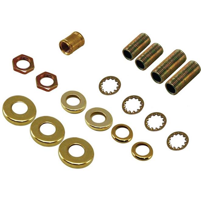 All-Purpose Lamp Accessories - 18-Piece Kit - Brass