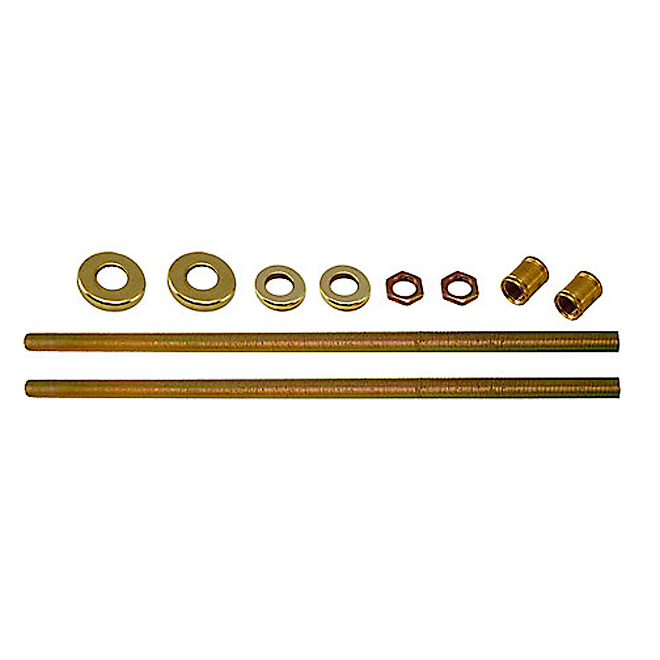 "Threaded Rods With Hardware - 12"" - Brass"
