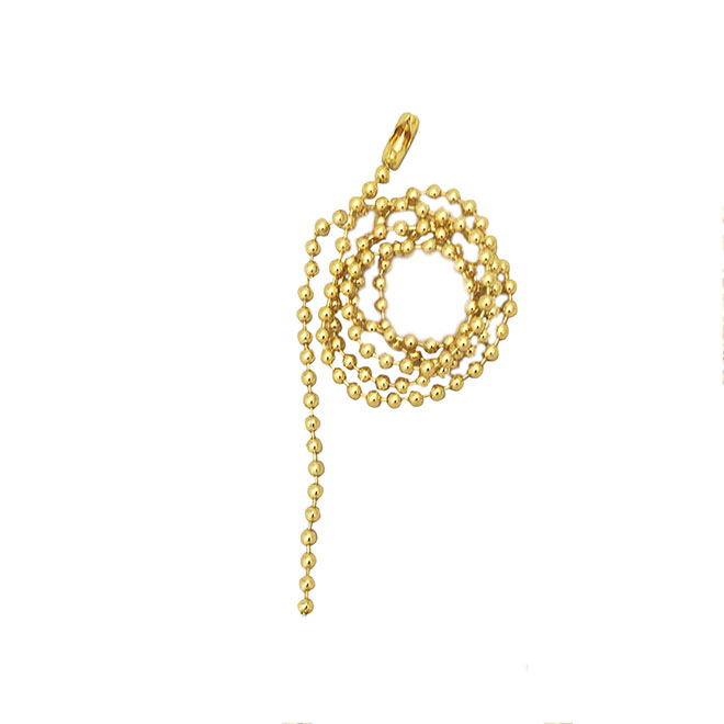 Beaded Pull Chain with Connector - Brass - 24""