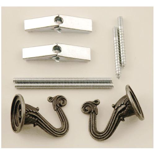 Crochet de suspension décoratif, paquet de 2, étain