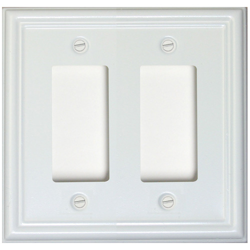 "Double-Gang Wall Plate - ""Estate"" - White"