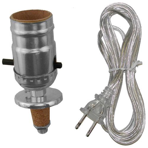 Ensemble de douille avec cordon pour lampe, chrome