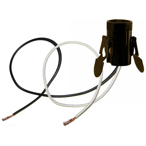 75 W Cadelabra Socket with Wires - Black