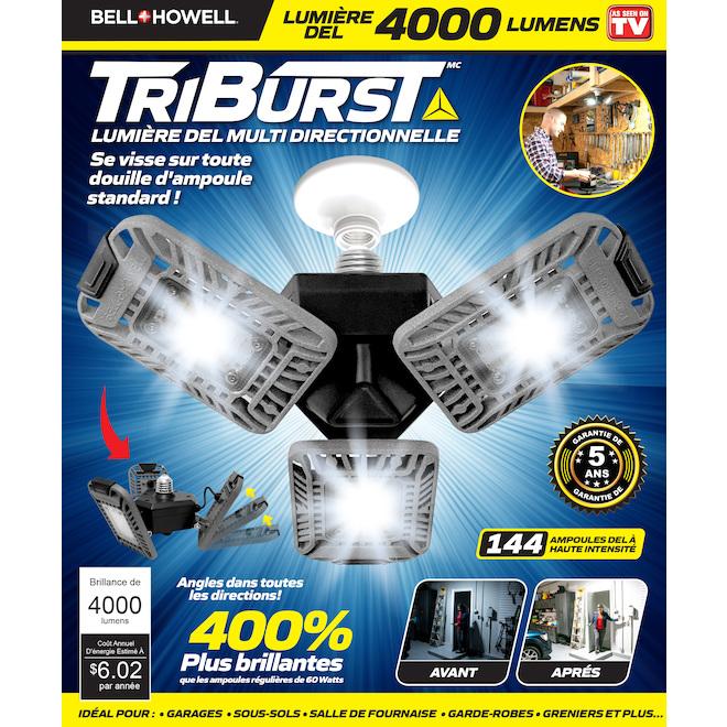 Lumière de sécurité Bell + Howell Tri-Burst, 6 po x 4,5 po, 60 W, argent