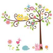 Appliqué mural autocollant «Arbre, fleurs et animaux»