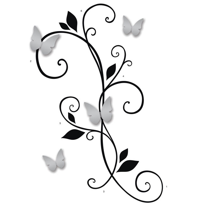 """""""Butterfly and Scroll"""" Wall Decal"""