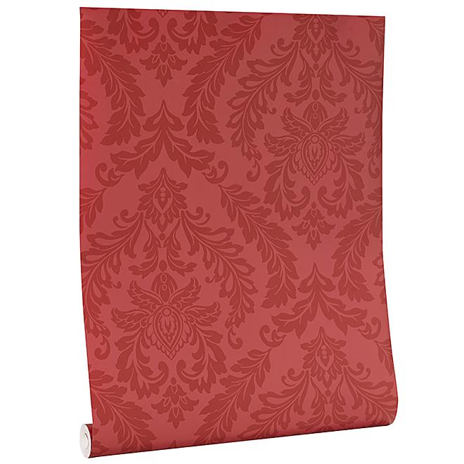 Wallpaper - Damask Motif - 20.5'' x 33' - 56 sq.ft. - Red