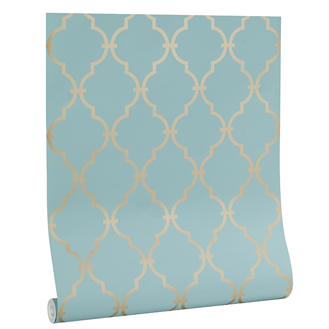 Moroccan Arabesque Shapes Wallpaper - Gold And Teal