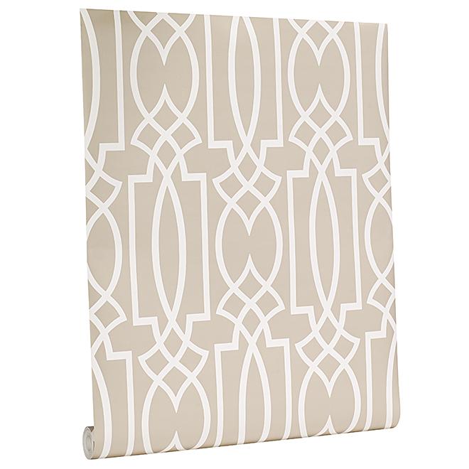 Wallpaper - Geometric Motif - 56 sq.ft - Taupe/White