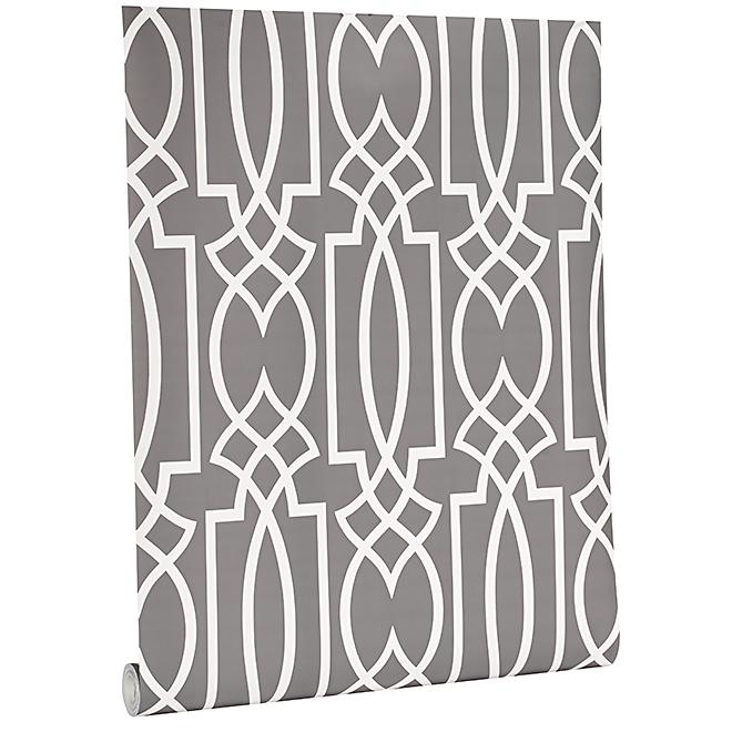 Wallpaper / Geometric Motif - 56 sq.ft. / Grey/White