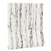 Birch Tree Wallpaper, 33', Neutral White