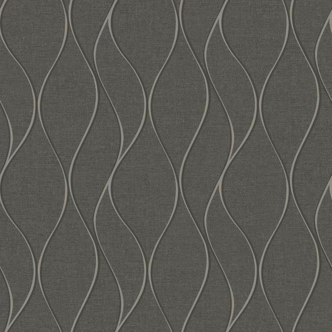 YORK Papier peint motif de vagues, 56 pi², gris foncé LW5886LW | RONA