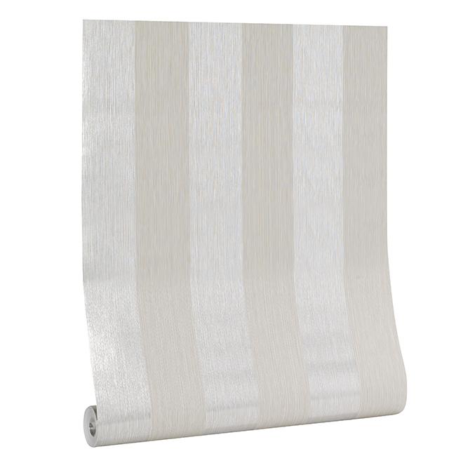 Papier peint à rayures, 56 pi², argent