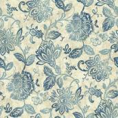 Papier peint motif floral, 56 pi², bleu/blanc