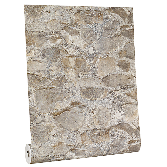 Papier peint pierre, 33', gris et beige