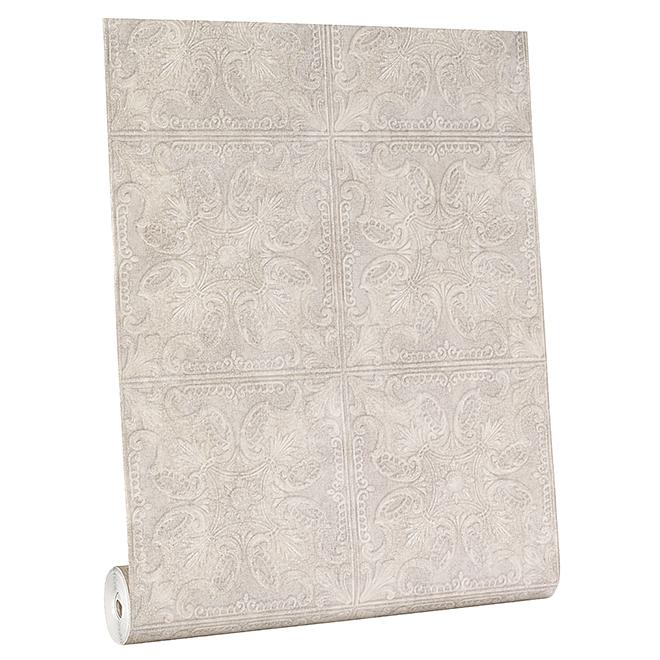 York Wallpaper - Pressed Tin Motif - 56 sq.ft. - Silver