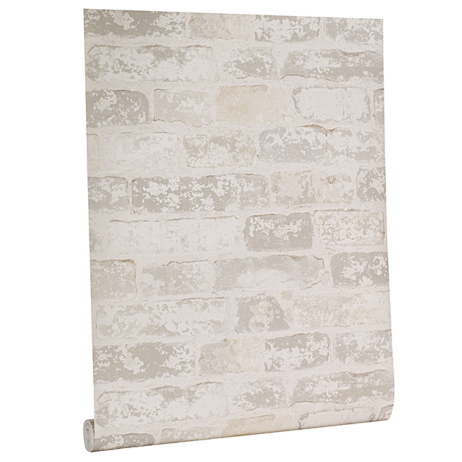 Weathered Brick Wallpaper - 33' - Gray