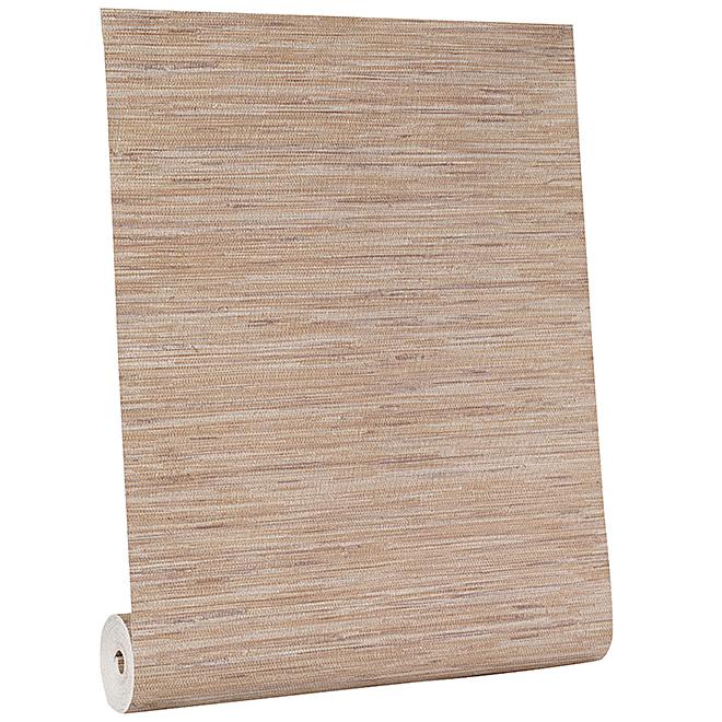 Papier peint, motif toile de ramie, 56 pi², brun