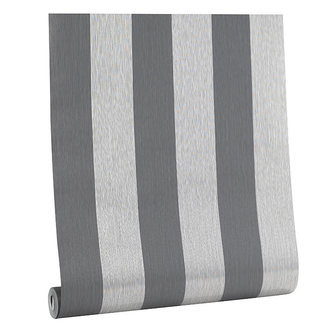 Two-Color Stripe Wallpaper - 56 sq.ft. - Grey Tones