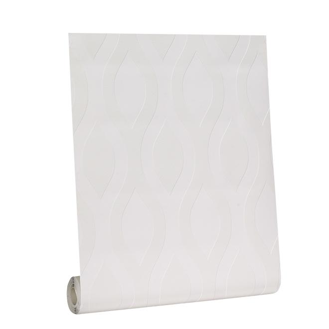 Papier peint à peindre, motif vague, 56 pi², blanc