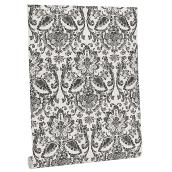 Wallpaper - Damask Motif - 56 sq.ft. - White/Black