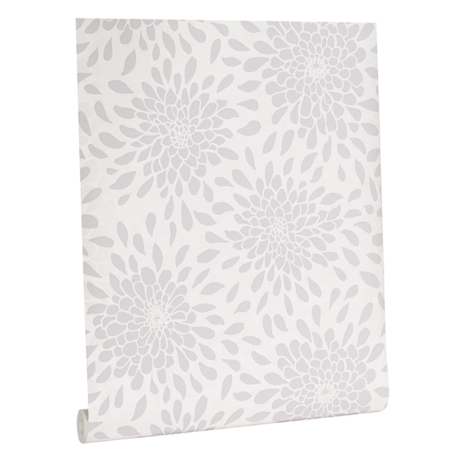 Wallpaper with Flower Patterns - 56 sq.ft. - White