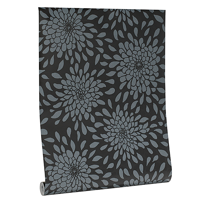 Wallpaper- Floral Motif - 56 sq.ft. - Black/White