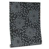 Papier peint, motif floral, 56 pi², noir et blanc