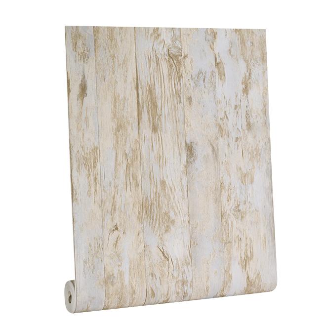 Barnboard Wallpaper - 56 sq.ft. - Beige/Blue