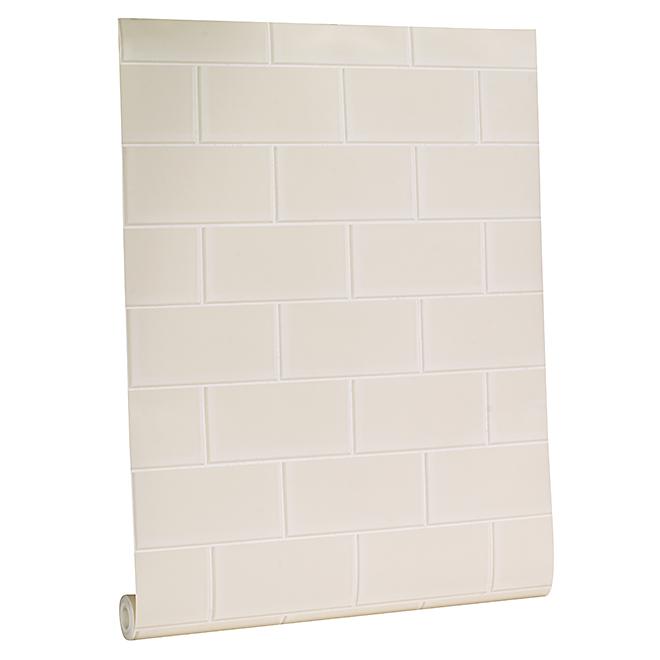 Wallpaper - Subway Tiles Motif - 56 sq.ft. - White