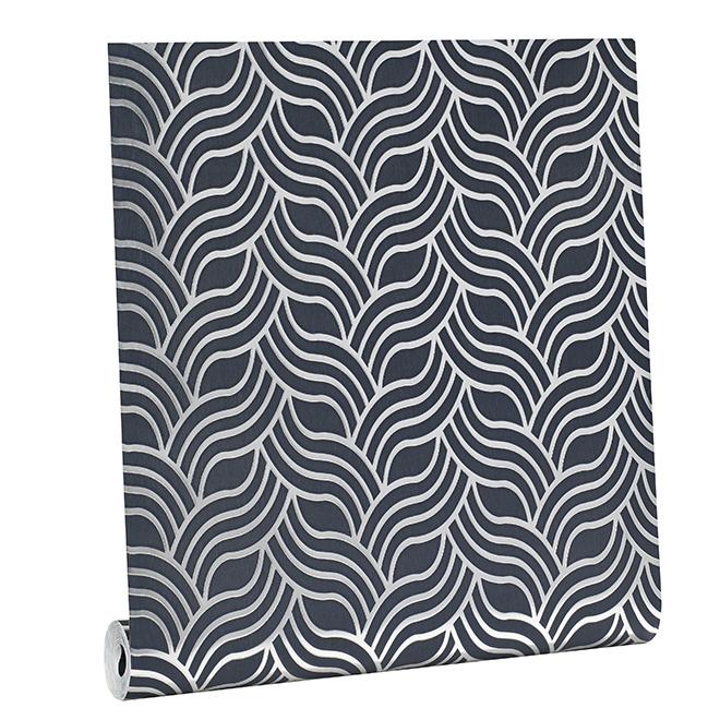 Papier peint, motif géométrique, 56 pi², charbon
