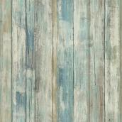 Wallpaper - Distressed Wood - Blue - 28 sq. ft