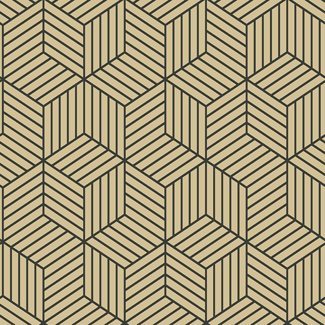 Wallpaper - Hexagon - Beige - 28 sq. ft.