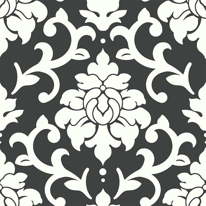 "Damask Design Wallpaper - Black and White - 20.5"" x 16.5'"