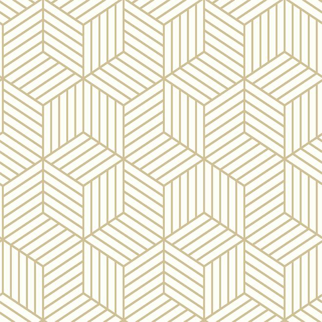 "Papier peint à motif d'hexagones, beige, 20,5"" x 16,5'"