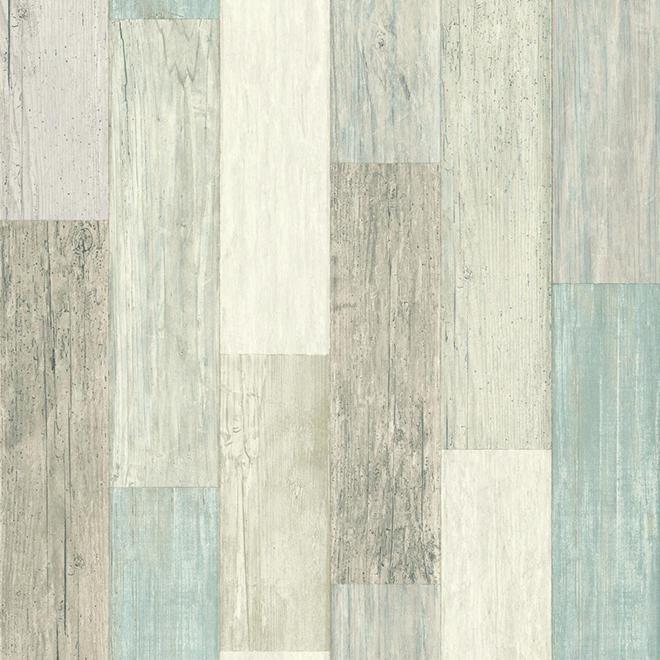 """Papier peint à effet de bois vieilli, bleu, 20,5"""" x 16,5'"""