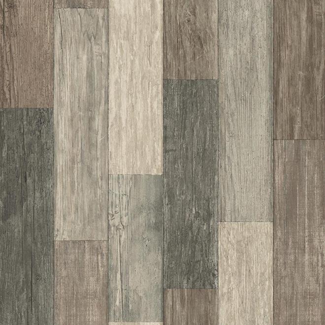 """Papier peint à effet de bois vieilli, brun, 20,5"""" x 16,5'"""