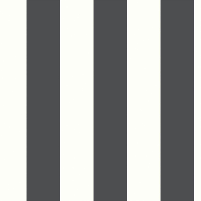 "Striped Wallpaper - Black and White - 20.5"" x 16.5'"