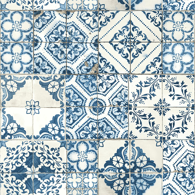 """Papier peint de tuiles méditerranéennes, bleu, 20,5"""" x 16,5'"""
