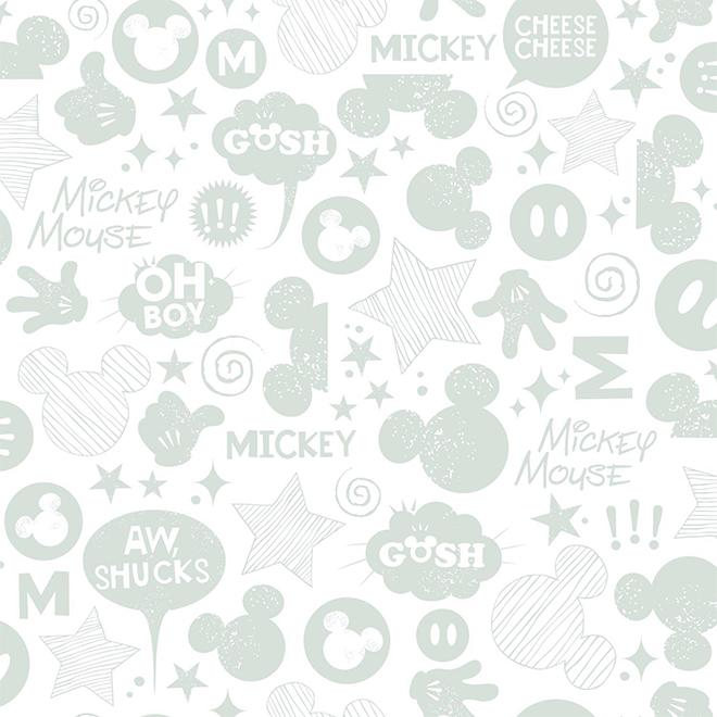 """Papier peint Mickey Mouse, gris, 20,5"""" x 16,5'"""