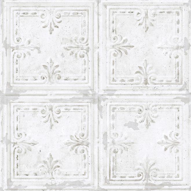 """Papier peint de tuiles en étain, blanc, 20,5"""" x 16,5'"""