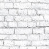 "Brick Effect Wallpaper - White - 20.5"" x 16.5'"