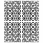 RoomMates Self-Adhesive Wall Decals - Ornate Backsplash Tile - 34.9-in x 16.9-in - Black and White - 2 Pieces