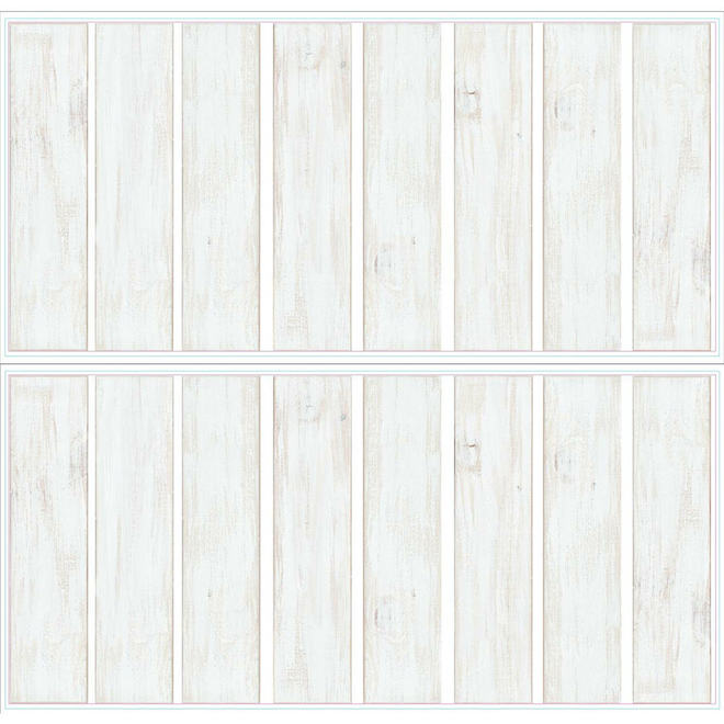 RoomMates Self-Adhesive Wallpaper - Shiplap - 4-in x 16.7-in - Grey - 16 pieces