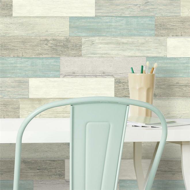 Autocollants muraux RoomMates, planches de bois de grange, 4 po x 16,7 po, bleu, 16 pièces